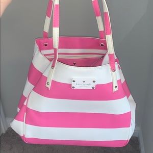Kate Spade pink and white striped purse